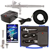 Master Airbrush Airbrushing System Kit with a G34 Multi-Purpose Gravity Feed Dual-Action Airbrush with 1/16oz. Cup and 0.3mm Tip, Mini Air Compressor,