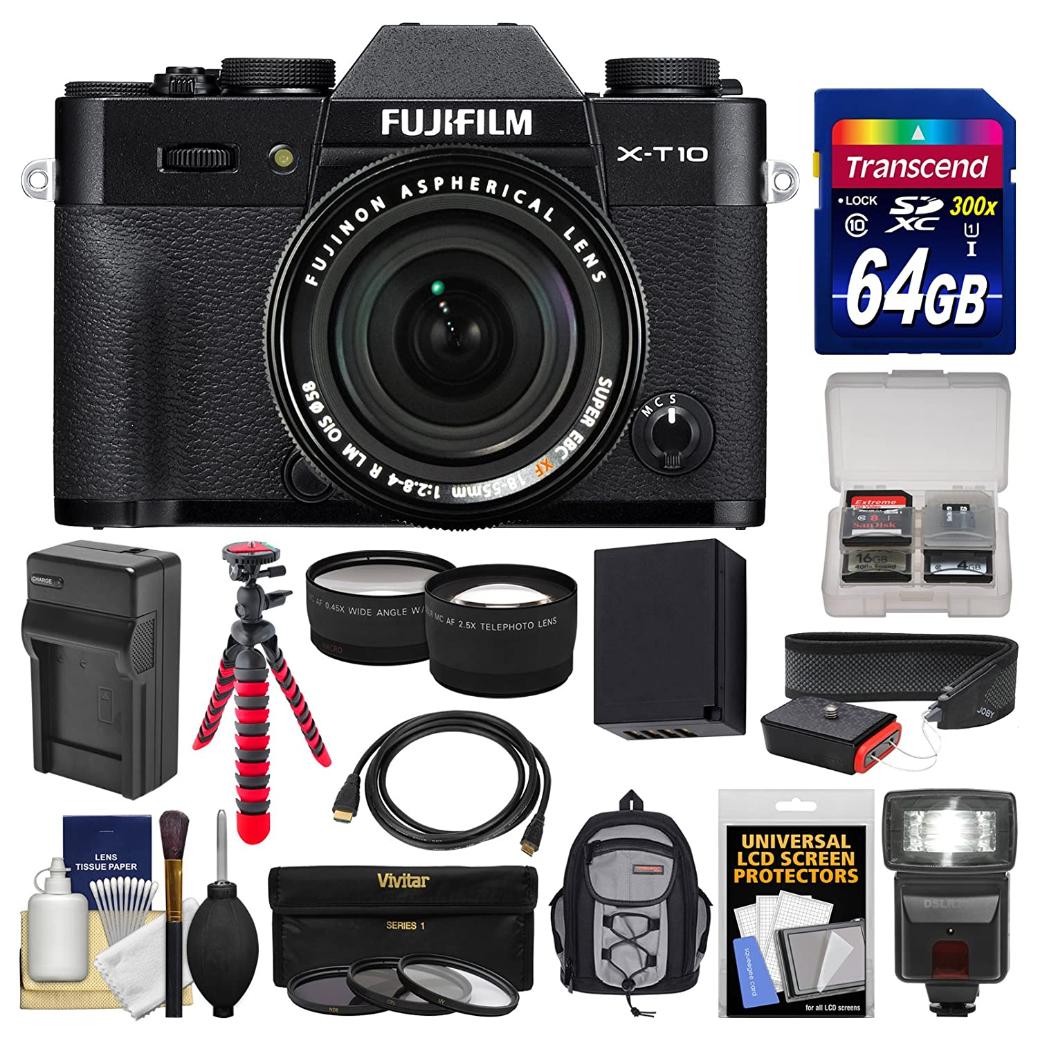 Fujifilm X-T10 Digital Camera & 18-55mm XF Lens (Black) with 64GB Card + Backpack + Flash + Battery & Charger + Tripod + Tele/Wide Lens Kit