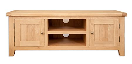 Melbourne Natural Range Solid Golden Oak Plasma Lcd Tv Cabinet (Oaklands Furniture)