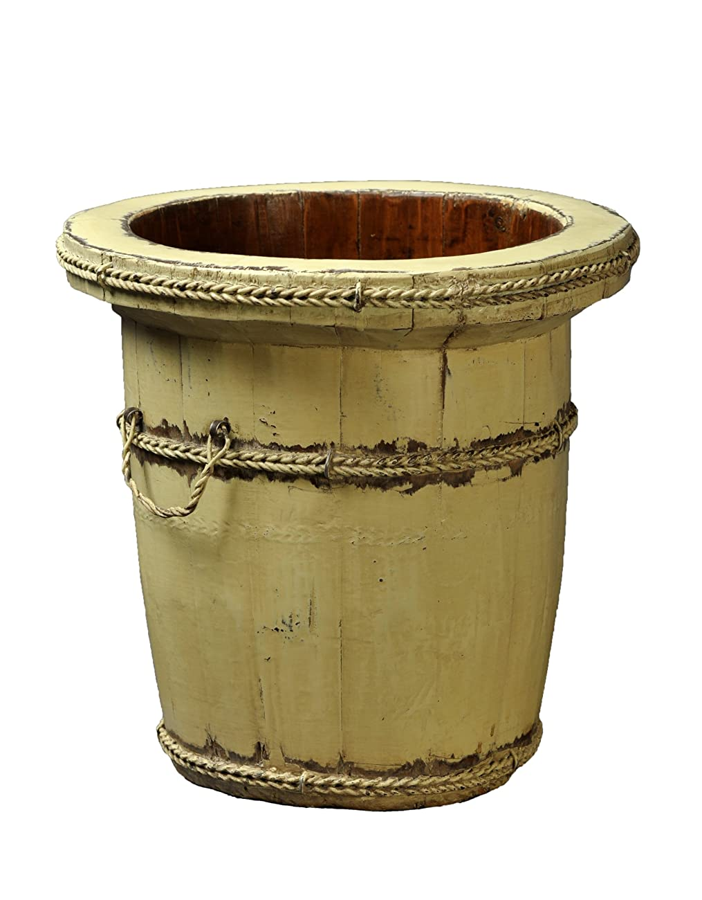 Antique Revival Wooden Planter Bucket, Butter Finish 0