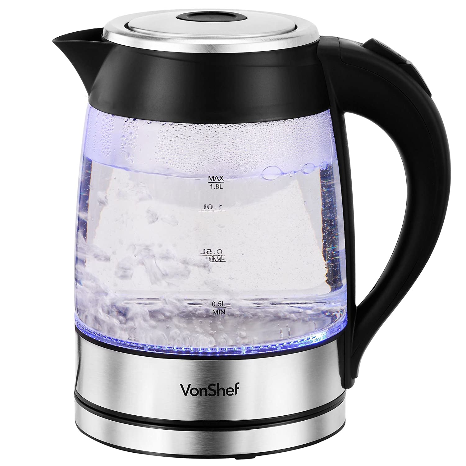 VonShef 1500W 1.7L Illuminating Clear Glass Cordless Jug Kettle