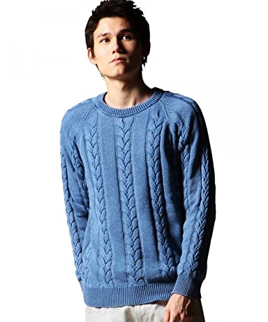 Indigo Cotton Cable Crewneck Sweater 1213-106-3070: Blue