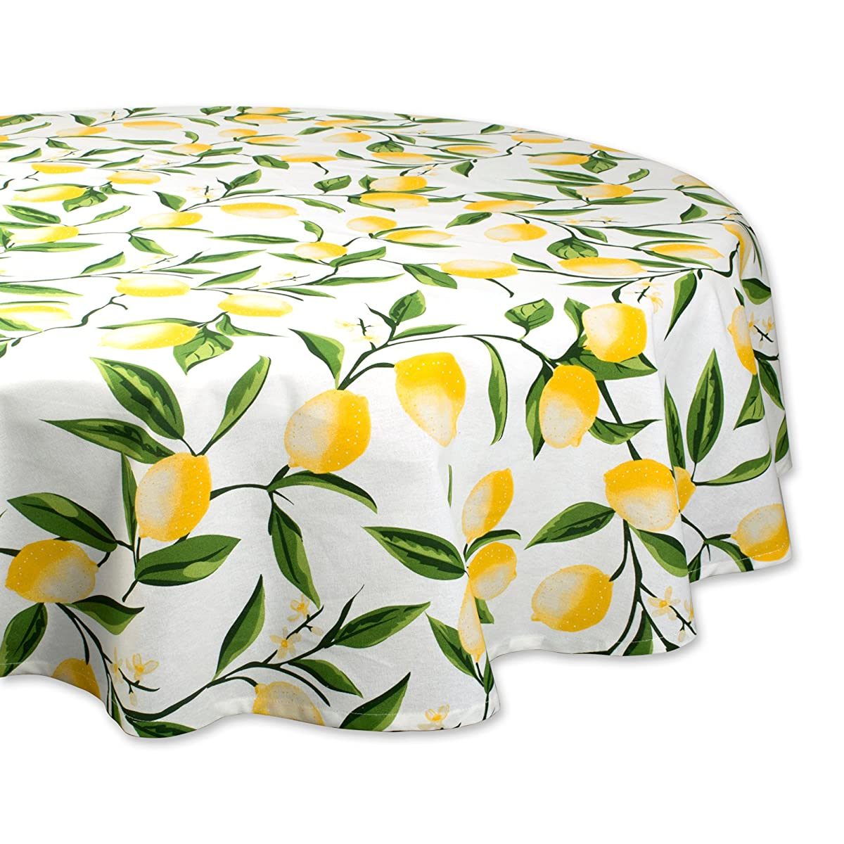 "DII Round Cotton Tablecloth for Autumn, Thanksgiving, Catering Events, Dinner Parties, Special Occasions or Everyday Use - 70"" Round, Lemon Bliss"