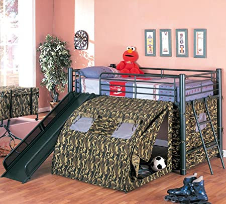 Oates Lofted Bed with Slide and Tent
