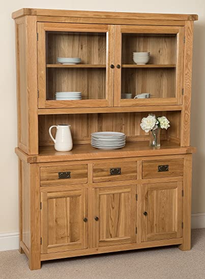 Cottage Solid Oak Large Dresser Cabinet Wall Unit, 1,385 x 430 x 1,910 cm