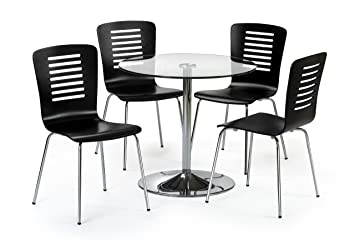 Julian Bowen Kudos Dining Table Set with 4 Chairs, Black/Clear Glass