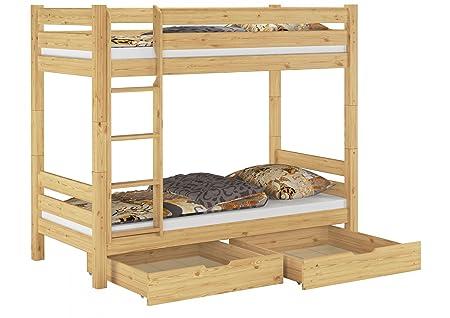 60.11-09 S2 Etagenbett Kiefer 90x200 cm, incl. 2 Rollroste u 2 Bettkästen, Nischenhöhe:100 cm