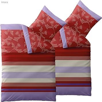 Bettwäsche 135x200 4 Teilig Baumwolle Trend Imara Rot Lavendel Huge