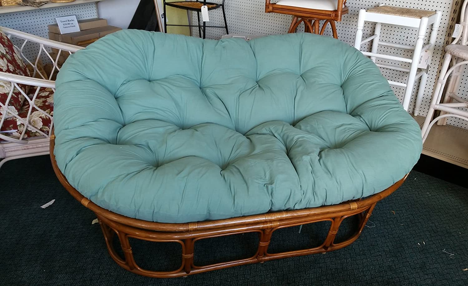 Papasan Loveseat - Classic Indoor Rattan Furniture NIB (Pecan-Hunter Green)