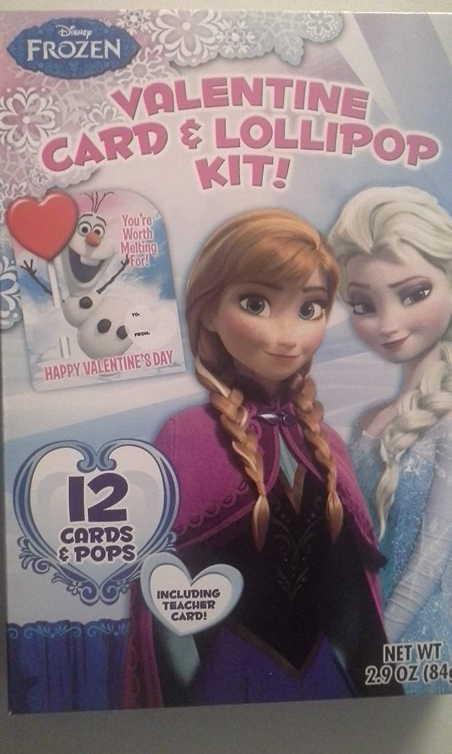 Disney Frozen Valentine Card & Lollipop Kit 12 Ct
