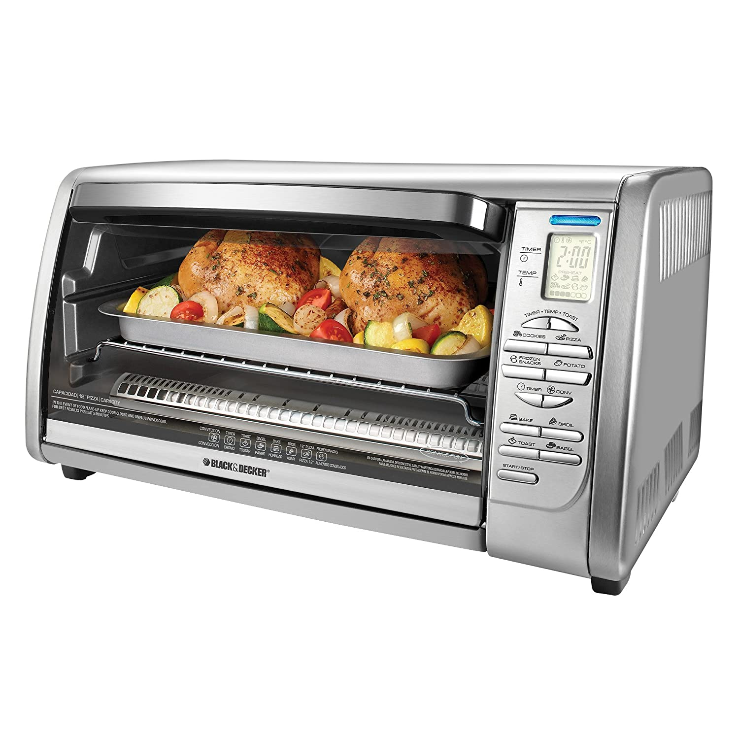 Toaster oven with two chickens