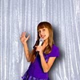 PartyDelight 4Ft X 6FT Silver Non-Transparent Satin Sequin Backdrop Curtain for Party Wedding Christmas Photography.(4X6,Silver) (Color: Satin Silver, Tamaño: 4FTx6FT)