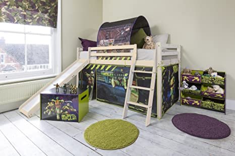 Cabin Bed with Turtles Tent & Slide TMNT Teenage Mutant Ninja Turtles 70 (Whitewashed Pine)