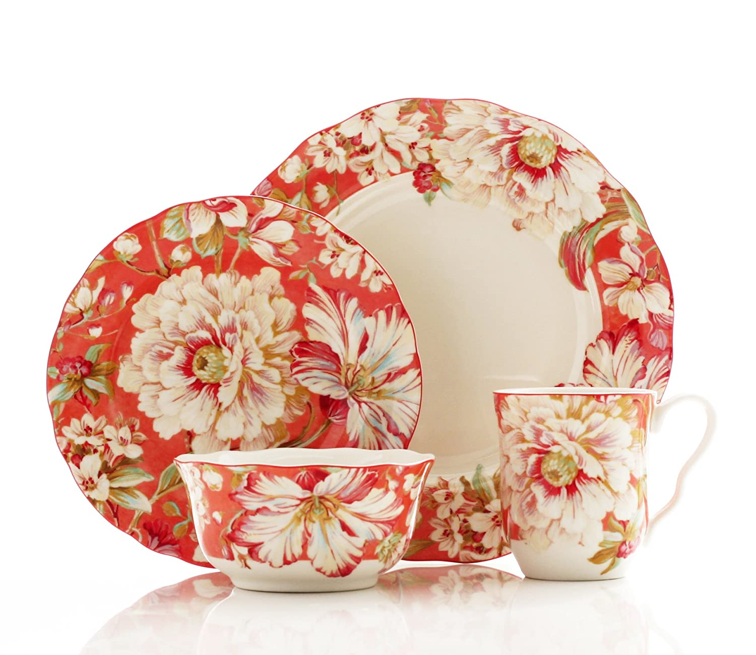 222 Fifth 16-Piece Dinnerware Set, Marley Coral, Service for 4
