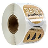 Black & Gold Faux Glitter Christmas Stickers/500 Christmas Tags/Multiple Designs (Color: Black and Gold Ink, Tamaño: 1.5