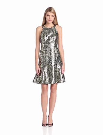 Maggy London Women's Halter Abstract Bracode Dress, Multi, 10