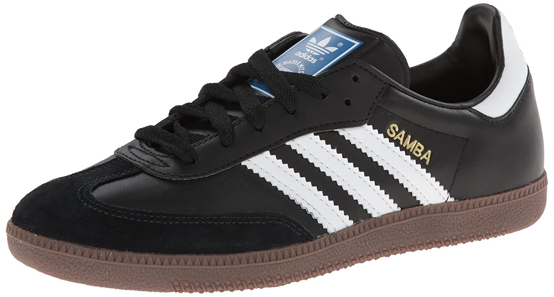 adidas Originals Men's Samba Fashion Sneaker,Black/White/Gum,9.5 D US