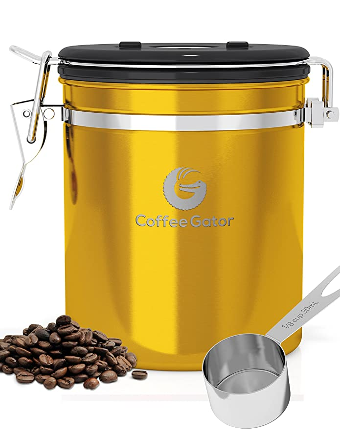 Coffee Storage Container - Fresher for Longer - Stainless Steel Vault with Co2 Release Valve - Includes Scoop & Ebook via Amazon