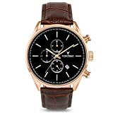 Vincero Luxury Men's Chrono S Wrist Watch — Rose Gold with Brown Leather Watch Band — 43mm Chronograph Watch — Japanese Quartz Movement (Color: Rose Gold, Tamaño: 43mm)