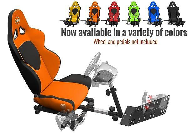 Openwheeler GEN2 Racing Wheel Stand Cockpit Orange on Black | Fits All Logitech G29 | G920 | All Thrustmaster | All Fanatec Wheels (Color: orange)