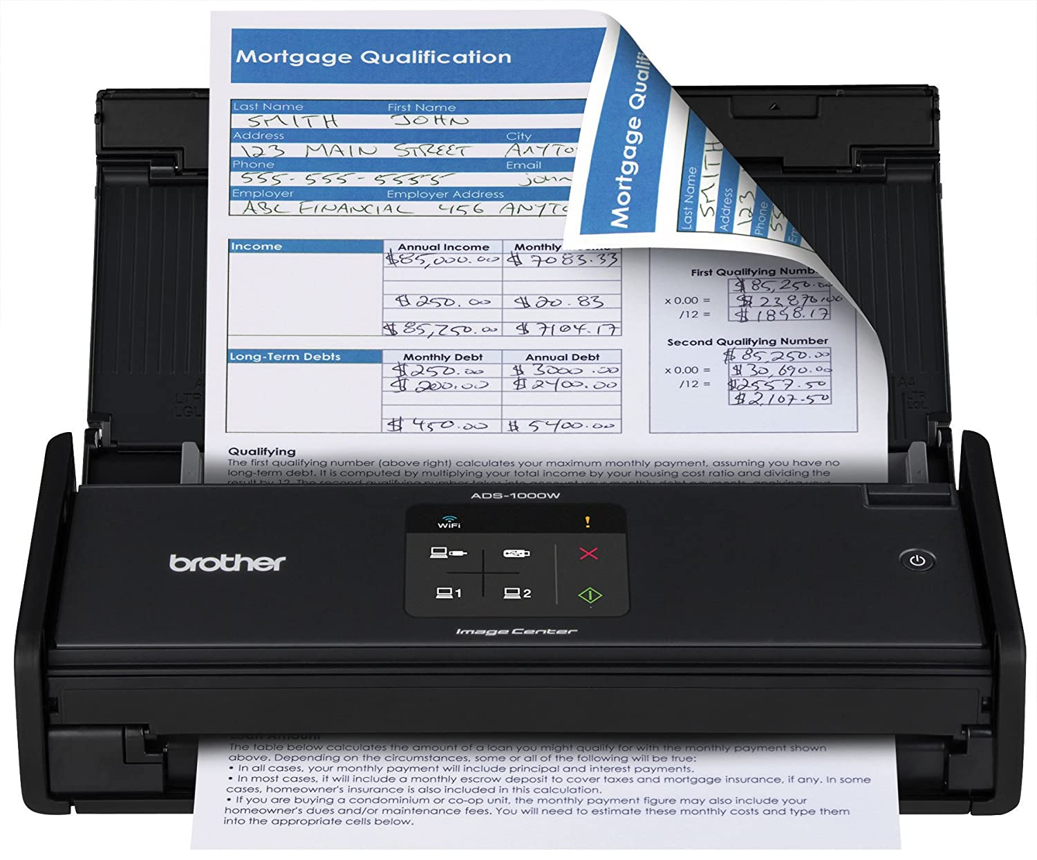 Brother ADS1000W Compact Color Desktop Scanner with Duplex and Wireless Networking