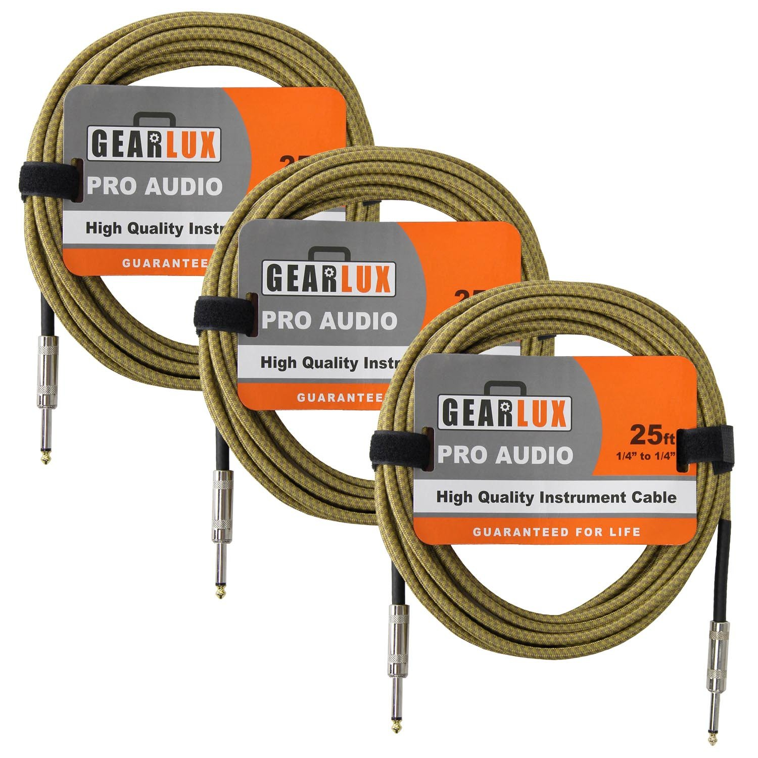 Gearlux High-Quality 25-Foot 1/4-Inch to 1/4-Inch Pro Audio Noiseless Instrument Cable with Oxygen-Free Copper Conductor - Tweed - 3 Cables