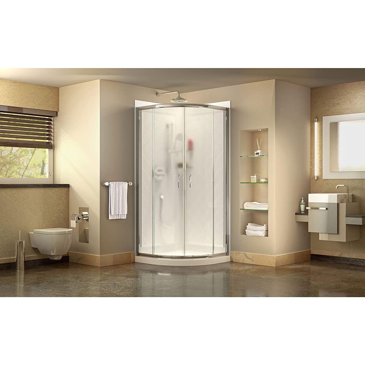 DreamLine Prime 36 in. D x 36 in. W Kit, with Corner Sliding Shower Enclosure in Chrome, White Acrylic Base and Backwalls