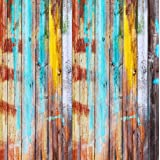 Kate 8x8ft Vintage Wood Wall Photography Backdrops Colorful Graffiti Background for Shooting (Color: 3818, Tamaño: 8x8ft)