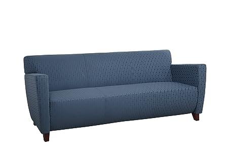 Custom Fabric Sofa with Cherry Finish