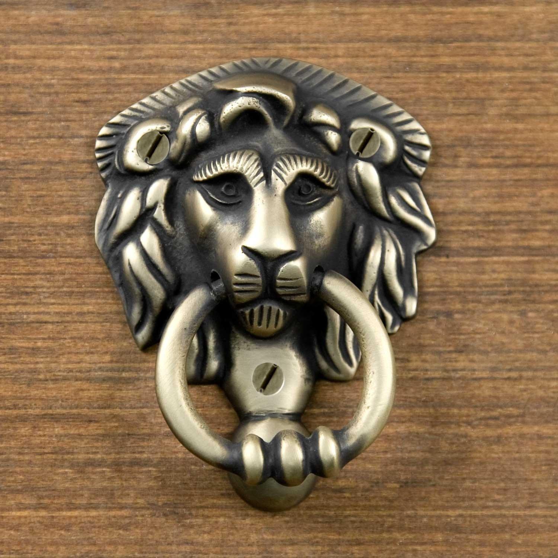 Naiture Brass Noble Lion Door Knocker In Antique Brass Finish