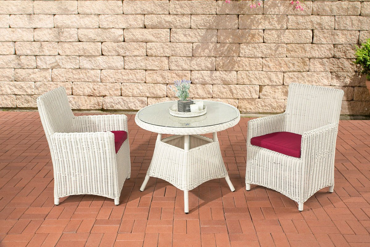 CLP Sitzgruppe QUITO perlweiß, aus 5 mm Rund-Rattan mit Aluminium Gestell (2 Sessel, runder Tisch Ø 90 cm + dicke Polster) ideal für Balkon und Terrasse perlweiß, Bezugfarbe rubinrot