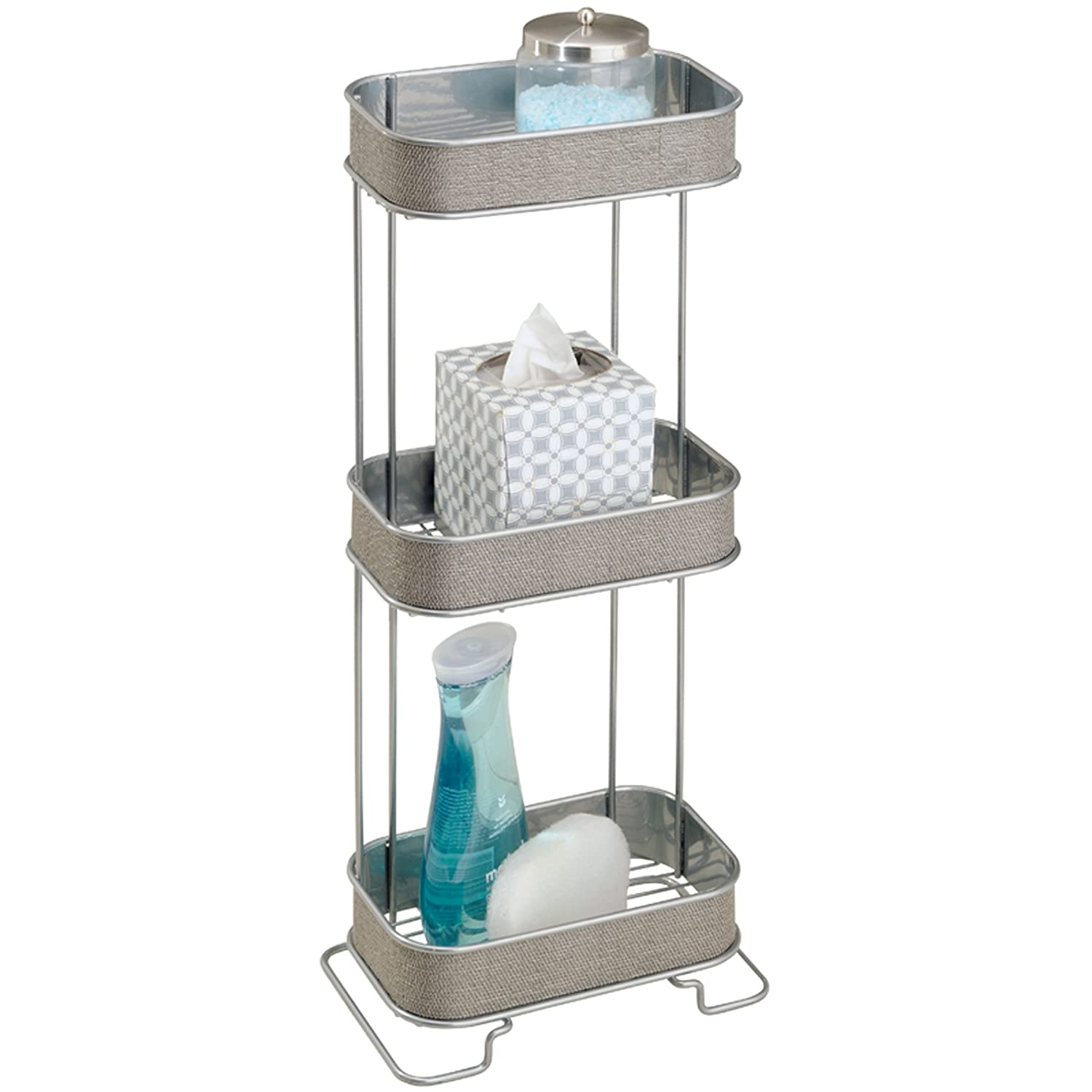 3 bathroom shelf storage holder wire silver shower bathtub for Bathroom accessories stand
