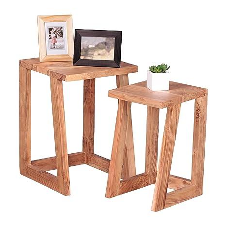 WOHNLING Conjunto de 2 Juntos madera maciza de acacia Dise–o Living-mesa redonda mesa de centro de madera natural Nachtkommode mesa del telŽfono mesas nido oscuro estilo Mesilla de noche del tren de rodaje casa marr—n 50 cm de alto