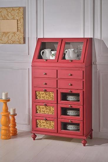 Dispensa in legno finitura rosso anticato, con 10 cassetti 80x153