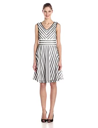 Gabby Skye Women's Sleeveless Stripe Fit and Flare Dress