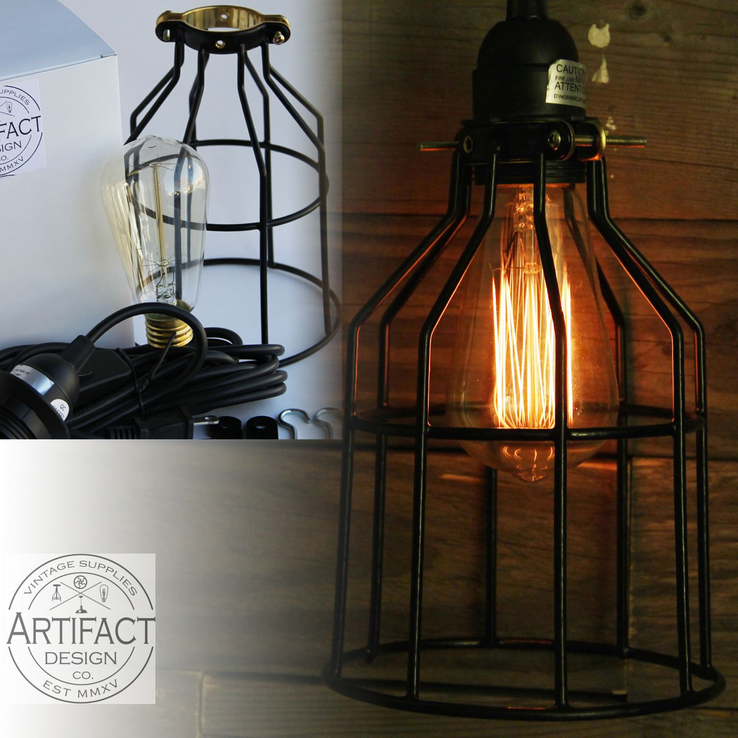 Industrial Cage Pendant Light With 15' Toggle Switch Black