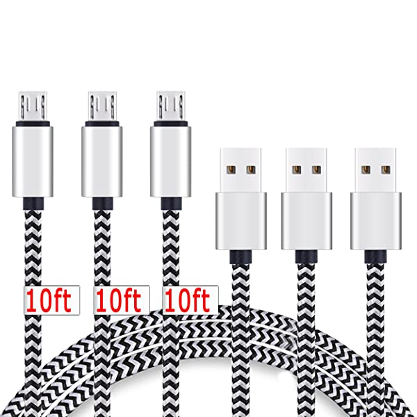 Micro USB Cable,[10ft3Pack] by Ailun,High Speed 2.0 USB A Male to Micro USB Sync & Charging Nylon Braided Cable for Android Smartphone Tablets Wall and Car Charger Connection[Silver&Blackwhite] (Color: Blackwhite, Tamaño: 10 Feet)