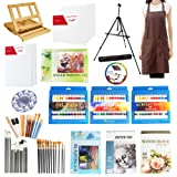 S & E TEACHER'S EDITION 140 Pcs Deluxe Artist Painting Set, Come with Aluminum and Wood Easels, Paint and Accessories (Color: Deluxe Set 140Pcs)