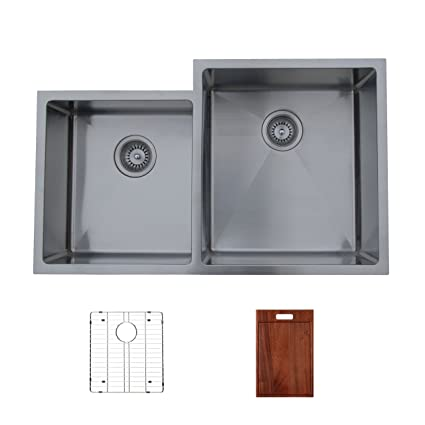 Ukinox RS420.60.40.10R.GC Modern Undermount Double Bowl Stainless Steel Kitchen Sink with Bottom Grid & Cutting Board
