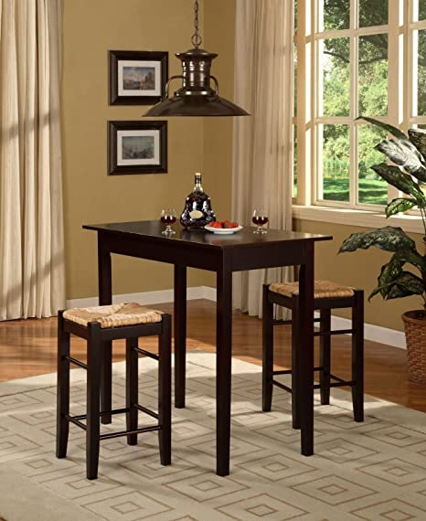 3 Pc Counter Height Dining Set - Espresso (Table & 2 Stools)