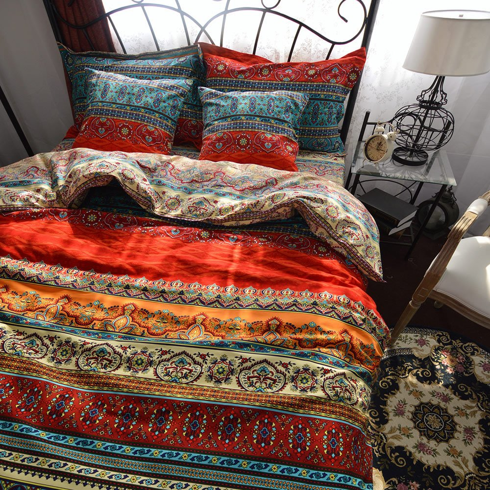Tidetex Bohemia Retro Printing 4pc Bedding Ethnic Vintage Floral Ornament Duvet Cover Boho Rural