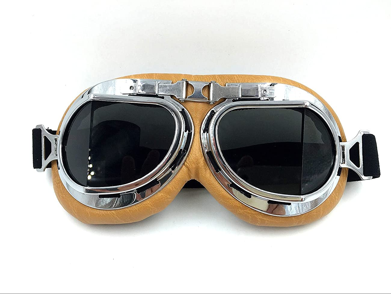 Vintage Aviator Pilot Goggles for Cruiser Chopper Motorcycle Scooter ATV Adult(Grey) 2