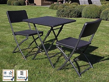 Stabile und robuste Gartengarnitur mit 2 Stuhlen, Kunststoff, klappbar, schwarz
