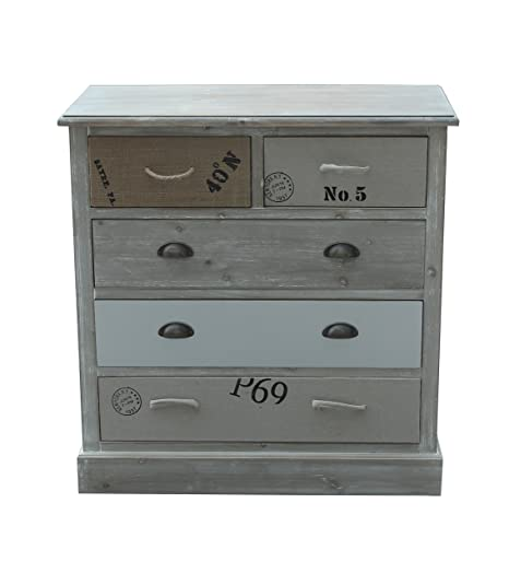 SIT-Möbel 8005 13 Forest MDF Chest of Drawers Antique Finish – FSC 100%, 85 x 40 x 88 cm, bunt