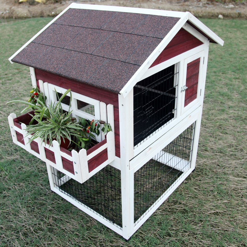Backyard Wooden Rabbit Hutch Bunny Cages Weatherproof Pot