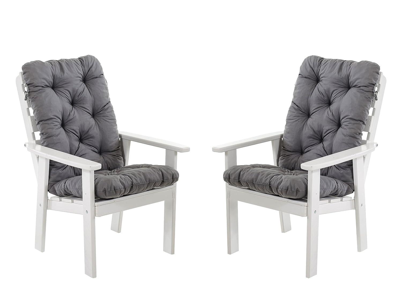 Ambientehome 90390 Gartensessel Gartenstuhl Loungesessel 2-er Set Massivholz Hanko Maxi mit Kissen, weiß / grau