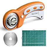 BONROB Rotary Cutter and Mat Set, with 12x18 Inch (A3) Double Sided Cutting Mat and 1 PCS Replacement Blade for Crafting, Sewing, Quilting (Color: Orange, Tamaño: 45mm Rotary Cutter and 12x18-inch Mat)