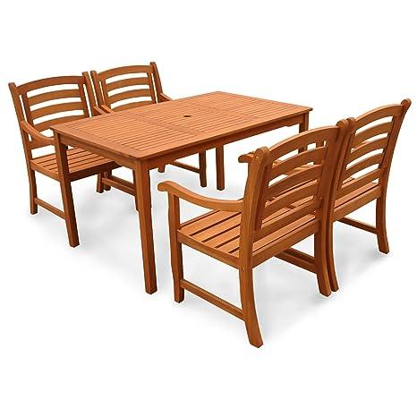 indoba® IND-70289-MOSE5ST4 - Serie Montana - Gartenmöbel Set 5-teilig aus Holz FSC zertifiziert - 4 Gartenstuhle + ein rechteckiger Gartentisch mit Schirmöffnung