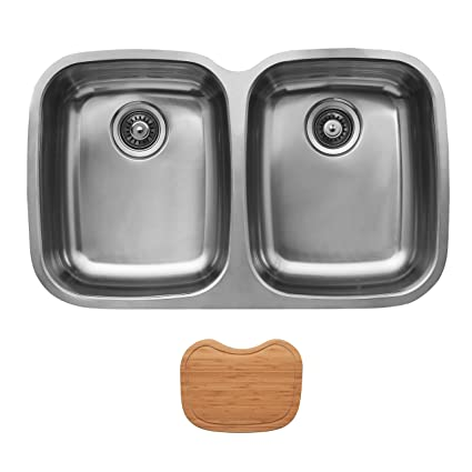 Ukinox D376.50.50.10.C Modern Undermount Double Bowl Stainless Steel Kitchen Sink with Cutting Board
