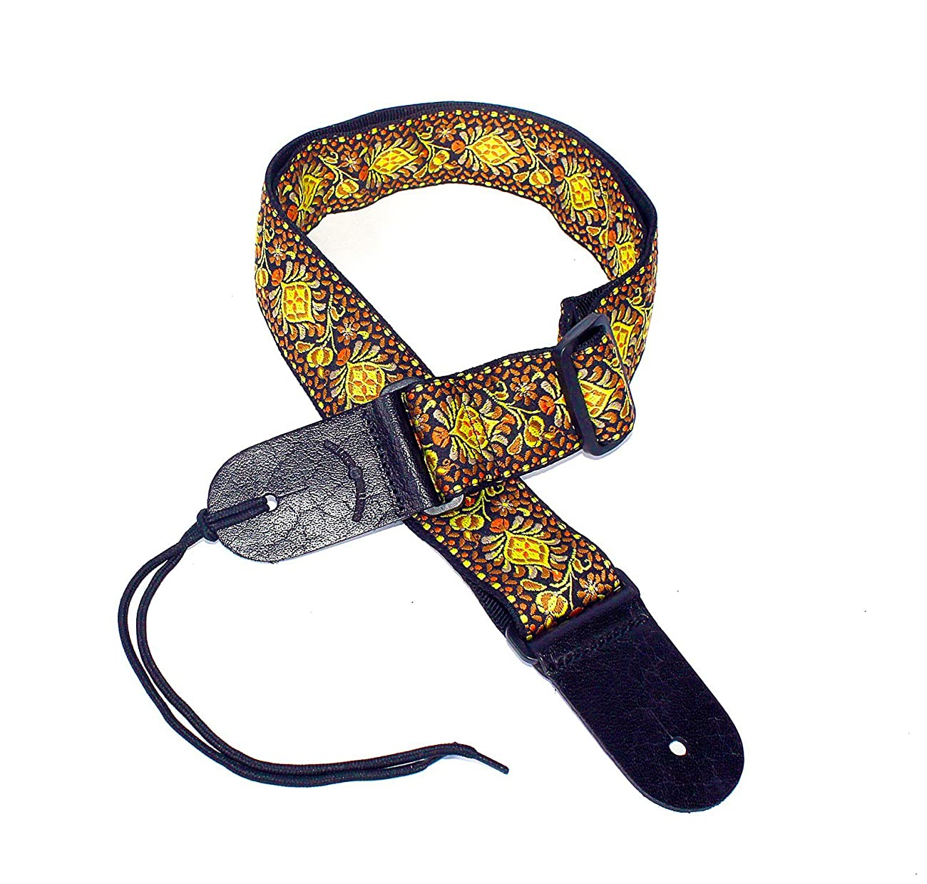 Walker & Williams H-03 Mandala Sun Woven 60's Style Hootenany Hippie Guitar Strap 1